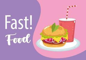 Fast food. burger et soda. vecteur
