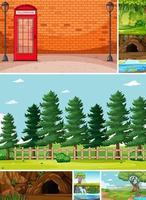 six scènes différentes dans le style de dessin animé de la nature