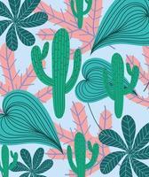 cactus et fond de feuillage exotique