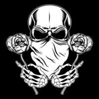 crâne portant un bandana avec des roses vecteur