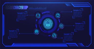 Blue fingerprint hud fermé cadenas sur motif numérique vecteur