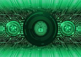 Empreinte digitale verte hud cadenas fermé sur motif numérique vecteur
