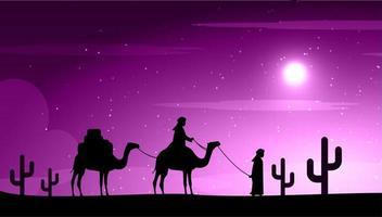 chameaux dans la nuit du désert sous la lune vecteur