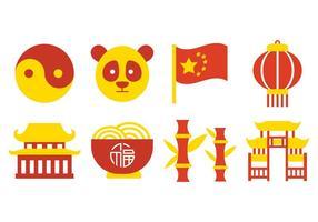 Chine Culture Icônes vecteur libre