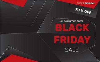 bannière de vente vendredi noir géométrique rouge et noir