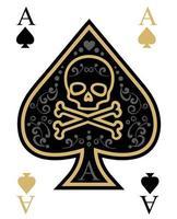 carte crâne as de pique en or et noir