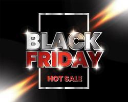 modèle de bannière de vendredi noir vente chaude métallique