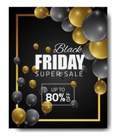 bannière de vente vendredi noir avec or, ballons noirs