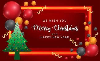 carte de Noël et nouvel an rouge avec des ballons