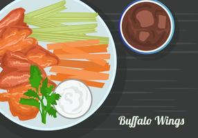 Buffalo Wings avec la sauce et les boissons gazeuses vecteur