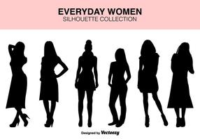 Vector Set Of femmes Silhouettes