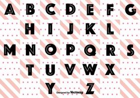 Noir Rétro Alphabet Vecteur