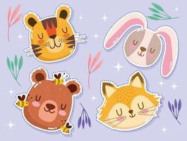 adorable petit tigre, lapin, renard, ours et abeilles vecteur