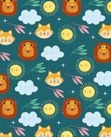 dessin animé renard, lion, nuages et soleil