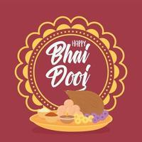 heureux bhai dooj. mandala, nourriture et fête indienne