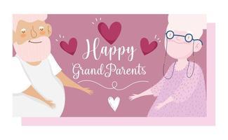 grand-père et grand-mère aiment la carte de coeurs
