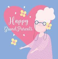 bonne journée des grands-parents. mamie avec coeurs et fleurs