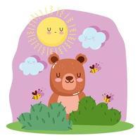 petit ours avec abeilles, herbe, soleil et nuages