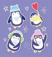 pingouins drôles avec des chapeaux, des lunettes et une écharpe