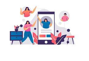 concept de technologie de marketing de réseau de médias sociaux vecteur
