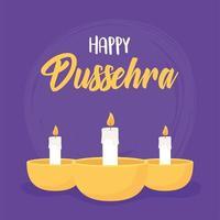 joyeux festival de dussehra en inde. bougies décoratives dans les lampes vecteur