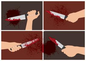 Vecteurs de main sanglante vecteur