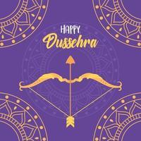 joyeux festival de dussehra. mandalas d'or, arc et flèche vecteur
