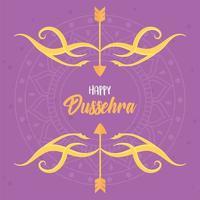 joyeux festival de dussehra. lettrage, flèches, arc et mandala vecteur