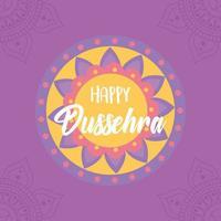 joyeux festival de dussehra en inde. carte traditionnelle de mandala vecteur