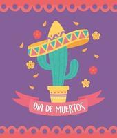 célébration de dia de muertos avec cactus et sombrero
