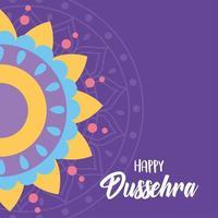 joyeux festival de dussehra en inde. décoration de mandala coloré. vecteur