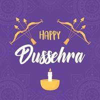 joyeux festival de dussehra. arc, flèches et bougies vecteur
