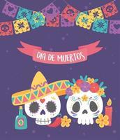 fête des morts avec des crânes en sucre vecteur
