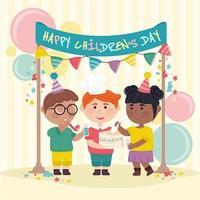 enfants célébrant la journée des enfants vecteur
