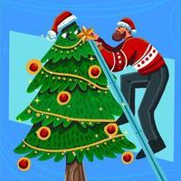 un homme décorant un magnifique arbre de noël