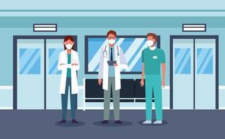 groupe de travailleurs médicaux portant des masques