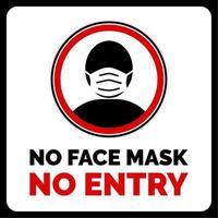 pas de masque facial, pas d'avertissement d'entrée