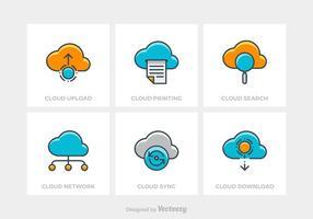Technologie sans nuage vecteur icônes