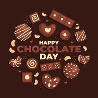 délicieuse bonne journée de chocolat vecteur