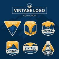 logo vintage de montagne bleue