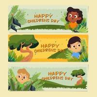 célébrez la journée des enfants et amusez-vous dans le parc. vecteur