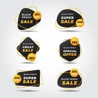 étiquettes de vente abstraites modernes vendredi noir vecteur