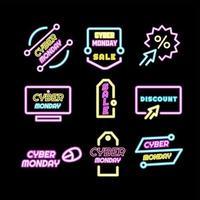 étiquette néon lumineuse pour cyber lundi