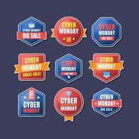diverses formes bleues rouges de vente cyber lundi vecteur