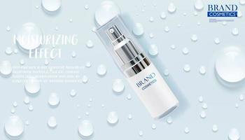 annonce de produit de soin de la peau avec des gouttes d'eau vecteur
