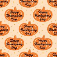 Modèle sans couture de citrouille orange joyeux thanksgiving