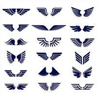collection d'ailes bleu foncé vecteur