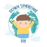 journée mondiale de la trisomie 21. garçon heureux dans le globe