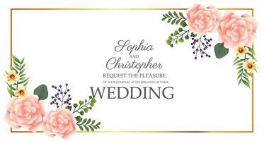 invitation de mariage avec motif floral d'angle
