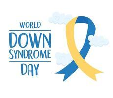 journée mondiale de la trisomie 21. ruban de sensibilisation d'inscription